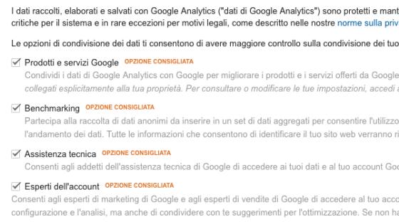 Opzione condivisione dati Google Analytics